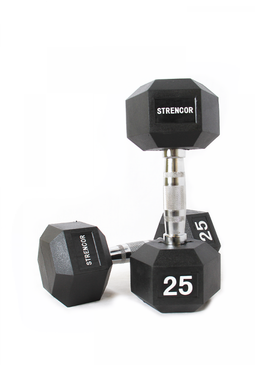 Strencor Rubber Coated Hex Dumbbells (pair)